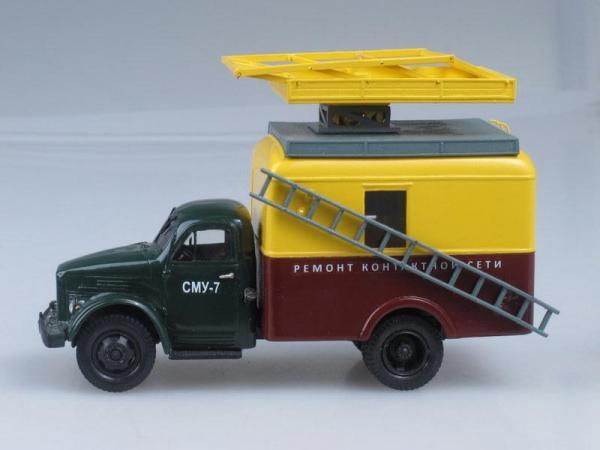 АТ60 (ГАЗ-51А) автовышка для ремонта и монтажа контактной сети СМУ-7 (Vector-Models) [1950г., Зеленый, желтый и коричневый, 1:43]