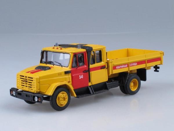 """ЗИЛ-4331 сдвоенная кабина """"Аварийная служба"""" (D.N.K.) [1986г., Лимонный с красным, 1:43]"""