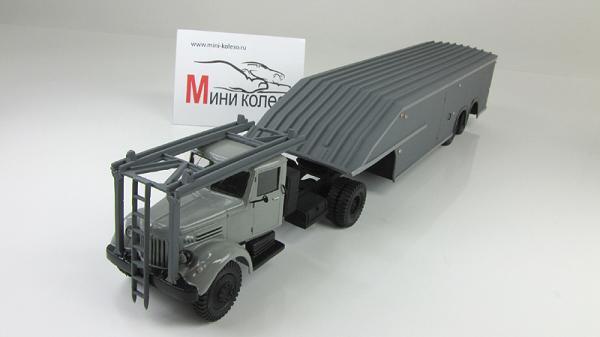 МАЗ-200 седельный тягач закрытый автовоз (Киммерия) [1951г., Серый, 1:43]