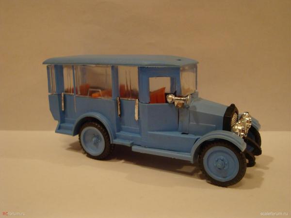АМО-Ф-15 двухдверный автобус (фабрика Кызыл-Ту, г.Алма-Ата) [1925г., синий, 1:43]