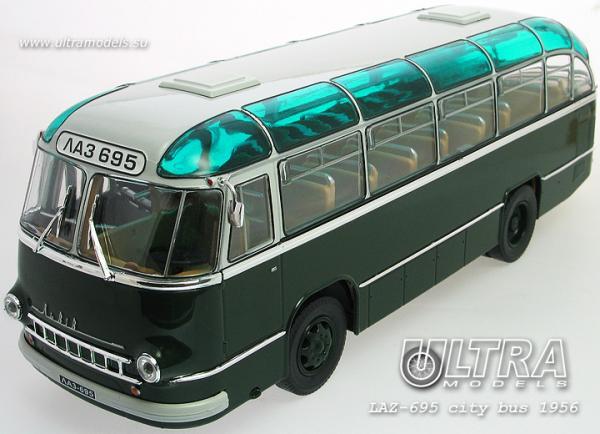 """ЛАЗ-695 """"Львiв"""" городской (ULTRA Models) [1956г., зеленый/серебристый, 1:43]"""