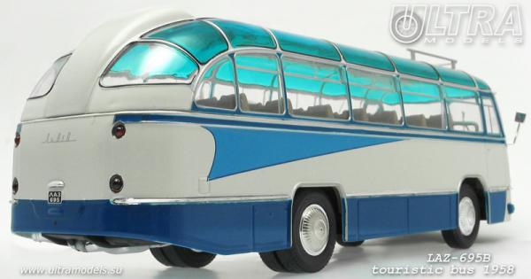 """ЛАЗ-695Б """"Львiв""""туристический """"Стрела"""" (ULTRA Models) [1958г., белый/синий, 1:43]"""