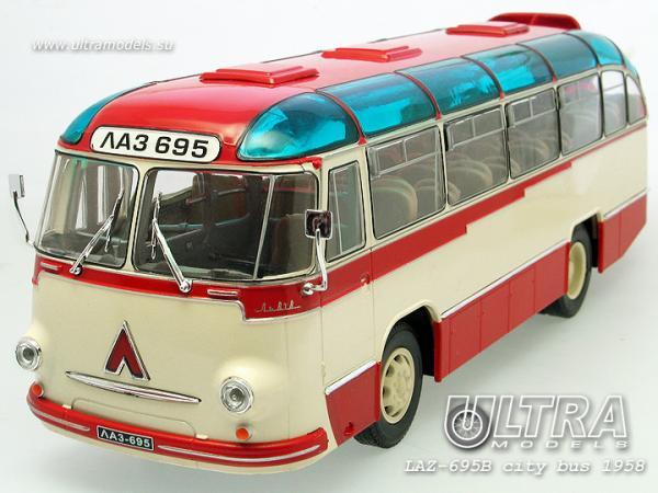 "ЛАЗ-695Б ""Львiв (ULTRA Models) [1958г., красный/бежевый, 1:43]"