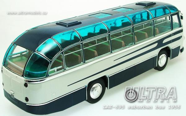 """ЛАЗ-695 """"Львiв"""" пригородный (ULTRA Models) [1956г., белый/синий, 1:43]"""