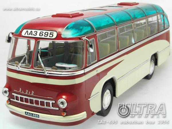 """ЛАЗ-695 """"Львiв"""" пригородный (опытный) (ULTRA Models) [1956г., бордовый/кремовый, 1:43]"""