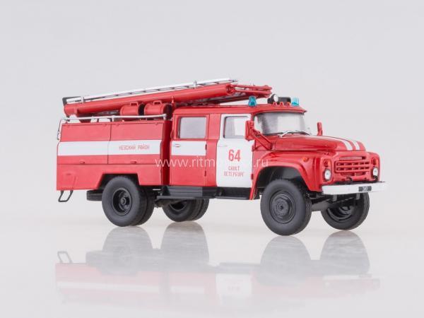 ЗИЛ-130 Пожарная Автоцистерна (De Agostini(Автолегенды СССР Грузовики )) [1970г., красный/белый, 1:43]