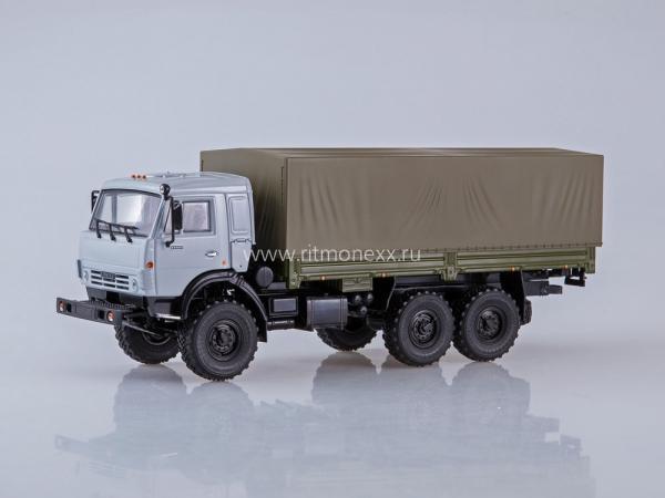 КАМАЗ-53501 6x6 бортовой (ПАО КАМАЗ) [1990г., серый/черный/зеленый (хаки), 1:43]