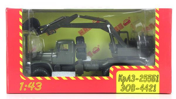 """КрАЗ-255Б1 (или экскаватор ЭОВ-4421, """"Кирасир""""). (Наш Автопром) [1984г., хаки, 1:43]"""