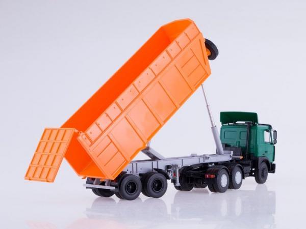 МАЗ-6422 + п/п МАЗ-9506-30 (Автоистория (АИСТ)) [2000г., зеленый/оранжевый, 1:43]
