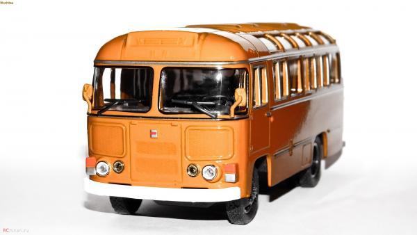ПАЗ-672М (DeAgostini(Автолегенды СССР .Автобусы)) [1982г., оранжевый.белый, 1:43]