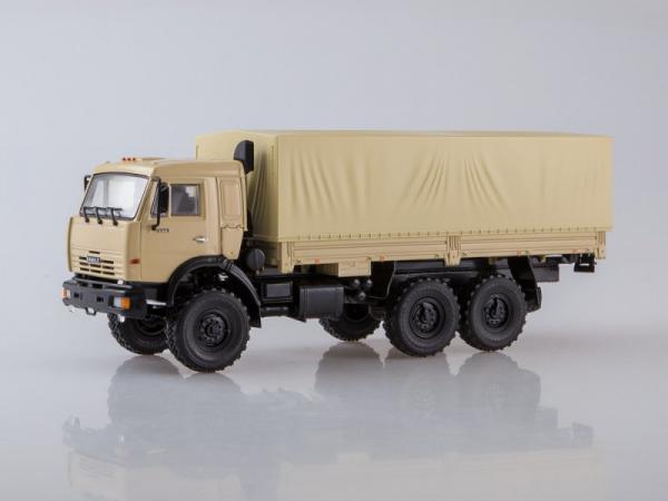 КАМАЗ-43118 6x6 бортовой с тентом (ПАО КАМАЗ) [2004г., бежевый, 1:43]