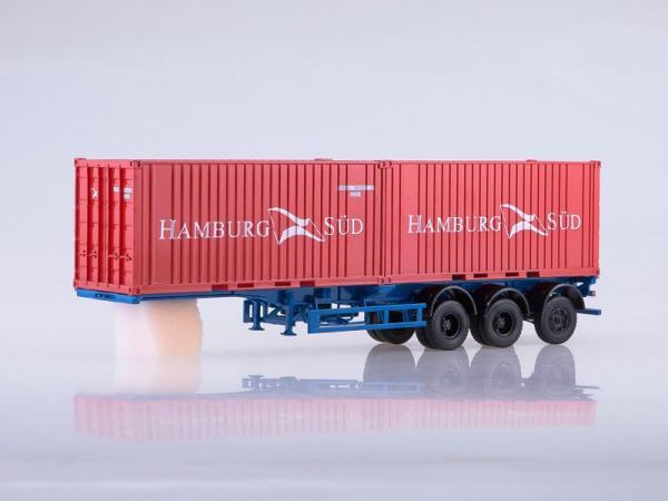 Полуприцеп-контейнеровоз МАЗ-938920 с контейнерами Hamburg Sud (Автоистория (АИСТ)) [2000г., красный/синий, 1:43]