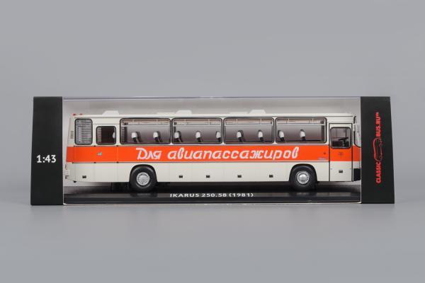 """Икарус (Ikarus) -250.58 """"Для Авиапассажиров"""" (Classicbus) [1980г., : белый, красная полоса, надпись """"Для Авиапассажиров"""", 1:43]"""
