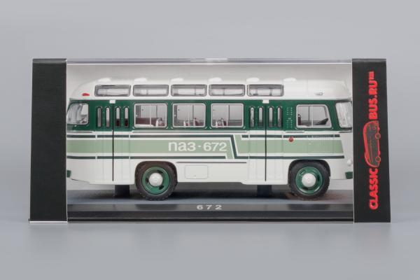ПАЗ-672 (Classicbus) [1980г., белый, зелёно-черные полосы, 1:43]