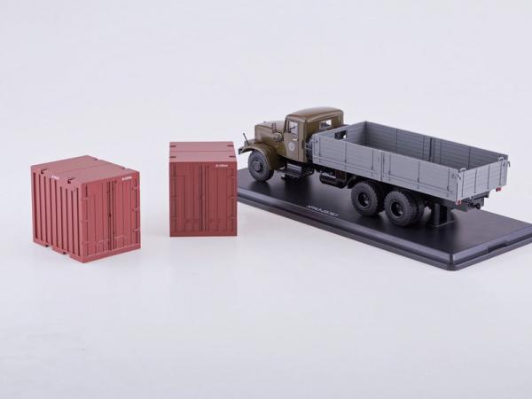 КРАЗ-257Б1 бортовой с контейнерами (Start Scale Models (SSM)) [1980г., хаки/серый, 1:43]