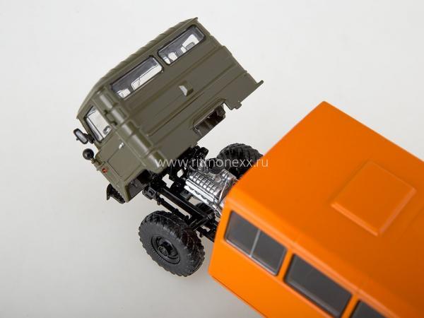 НЗАС-3964(ГАЗ-66) Вахтовый автобус (Start Scale Models (SSM)) [1966г., хаки.оранжевый, 1:43]