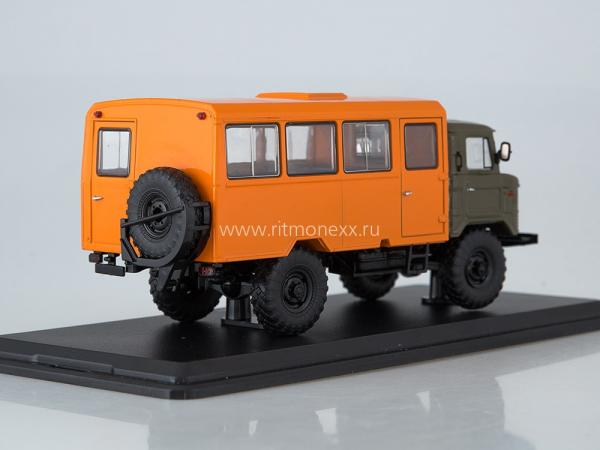 НЗАС-3964(ГАЗ-66) Вахтовый автобус (Start Scale Models (SSM)) [1966г., хаки.оранжевый, 1:43]