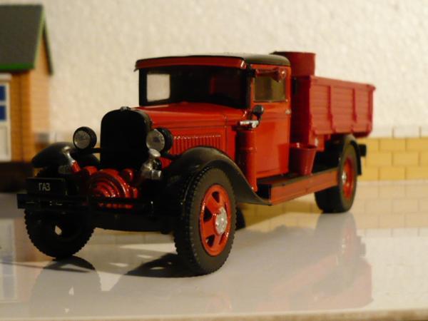 ГАЗ-АА пожарный с насосом шестеренным навесным НШН (Michalych, доработка DeAgostini) [1932г., красный, 1:43]